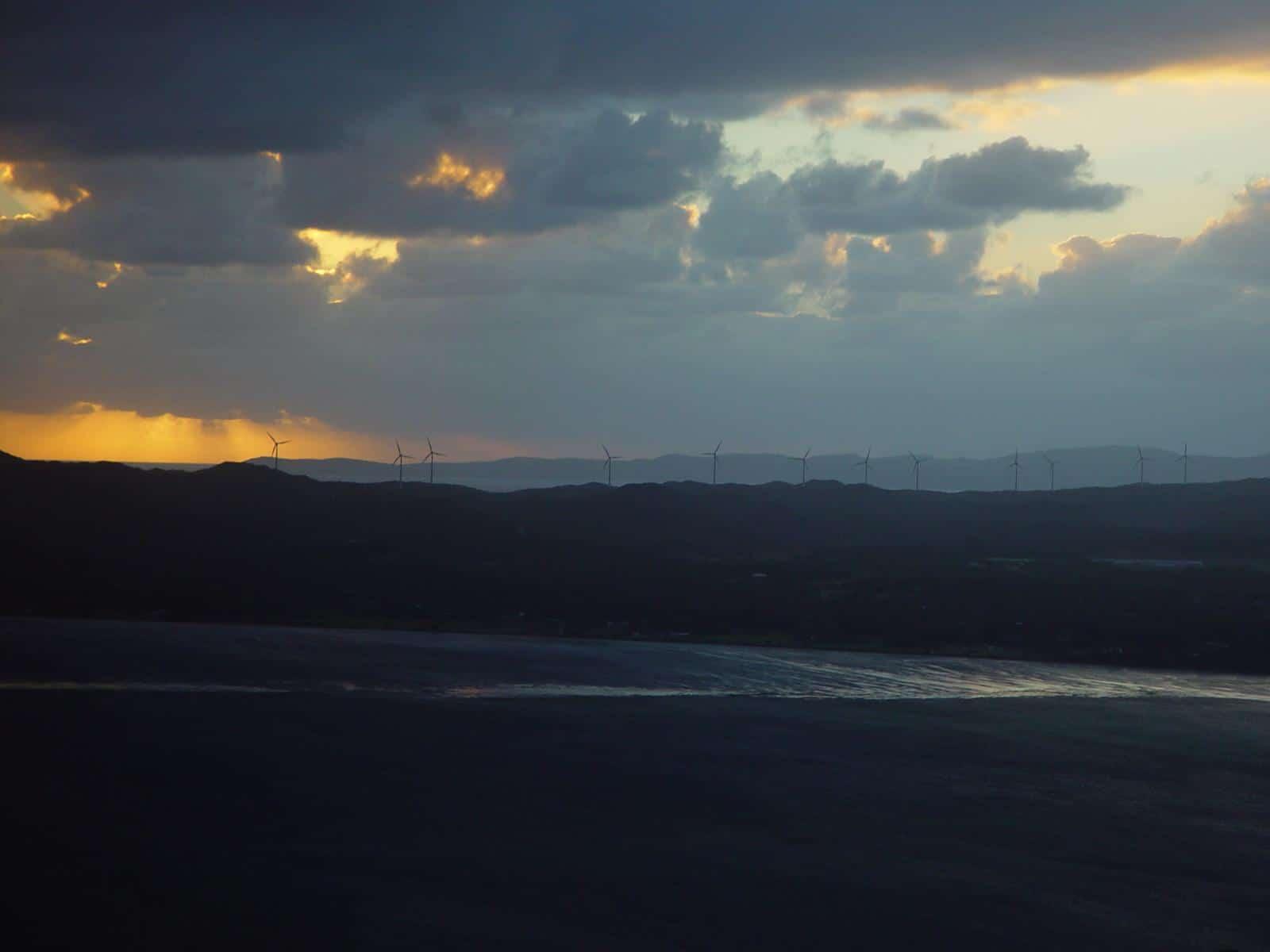 Albany wind-farm against the sunset, Western Australia